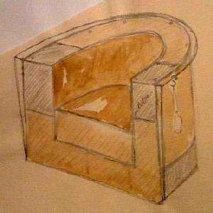 dessin préparatoire fauteuil club / cp et cuir